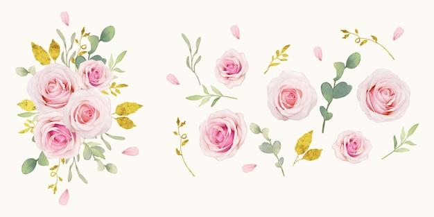 Acuarela rosas rosadas y colección de adornos dorados.
