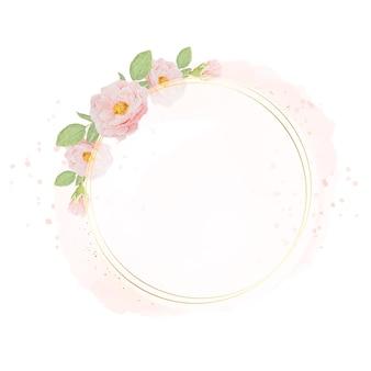 Acuarela rosas rosadas con marco de corona dorada sobre fondo de acuarela con espacio de copia