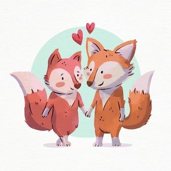 Acuarela de san valentín zorros enamorados