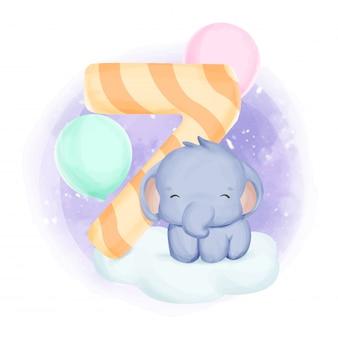 Acuarela del séptimo cumpleaños del bebé elefante