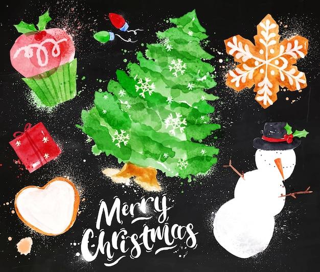 Acuarela símbolos de navidad tiza