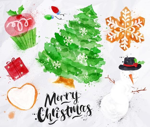Acuarela de símbolos de navidad