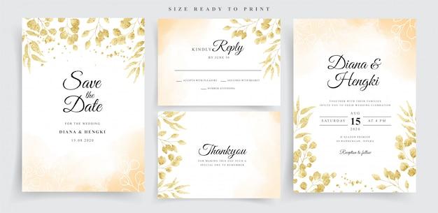 Acuarela sobre invitación de boda con eucalipto dorado