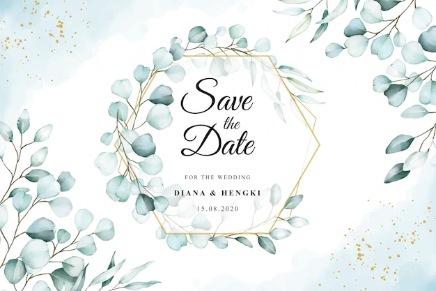 Acuarela sobre plantilla de tarjeta de boda con eucalipto suave