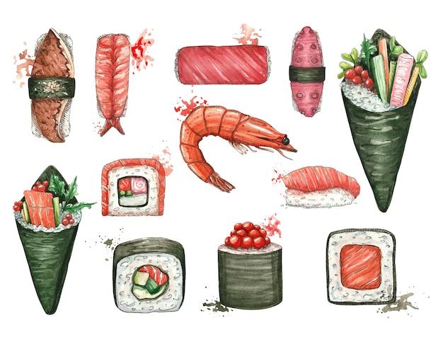 Acuarela con sushi y comida asiática sobre un fondo blanco.