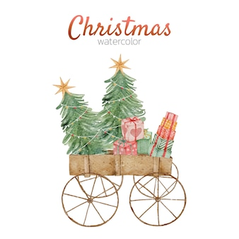Acuarela tarjeta de carro de navidad