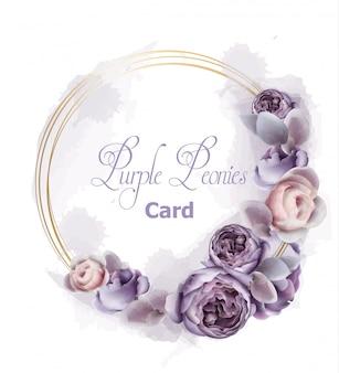 Acuarela de tarjeta de corona de flores de peonía púrpura