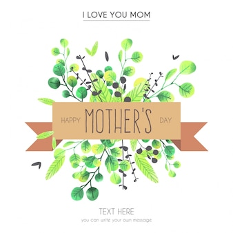 Acuarela tarjeta de felicitación del día de la madre