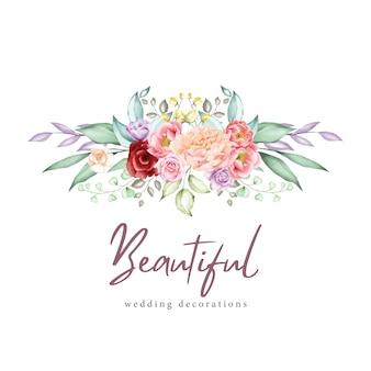 Acuarela tarjeta de felicitación floral y plantilla de invitación
