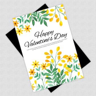 Acuarela tarjeta de felicitación floral de san valentín