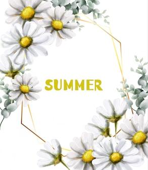 Acuarela de tarjeta de verano de manzanilla.