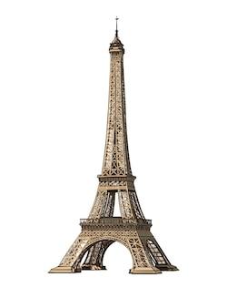 Acuarela torre eiffel en blanco