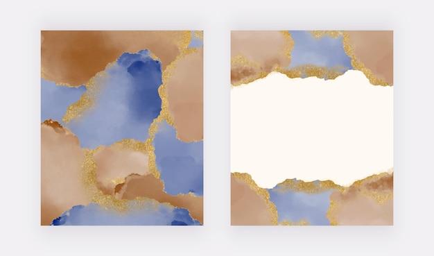 Acuarela de trazo de pincel azul marino y marrón con fondos de textura de brillo dorado
