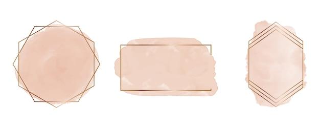 Acuarela de trazo de pincel desnudo con marcos geométricos de líneas doradas poligonales. imágenes prediseñadas de salpicaduras. lavados abstractos.