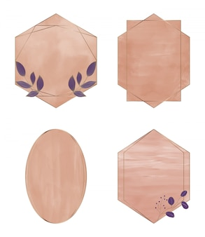 Acuarela de trazo de pincel marrón con marcos geométricos de líneas doradas poligonales.