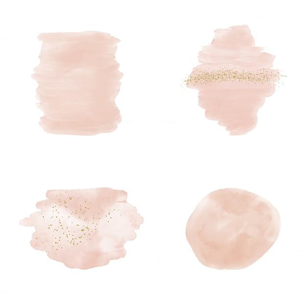 Acuarela de trazo de pincel rosa con confeti dorado brillo brillo.