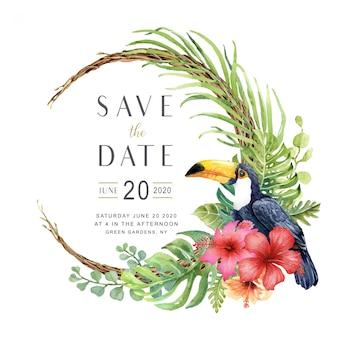 Acuarela tropical ave de tucán en corona de vid