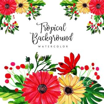 Acuarela tropical floral y fondo de hojas