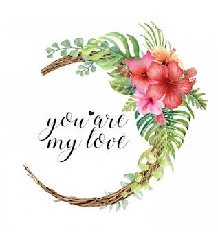 Acuarela tropical y ramo de hibisco en guirnalda de vid.