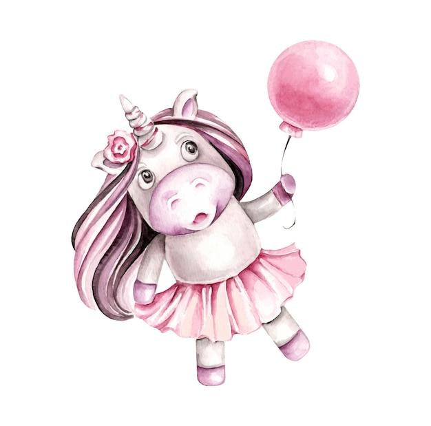Acuarela unicornio con globo personaje de dibujos animados.