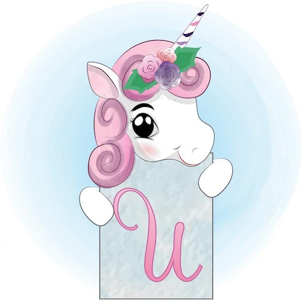 Acuarela de unicornio infantil