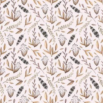 Acuarela vector patrón transparente con peonías, hojas de bosque, bayas, plumas en vinta