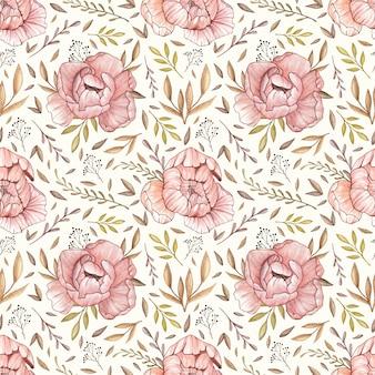Acuarela vector patrón transparente con peonías pastel, hojas de bosque y bayas en vinta