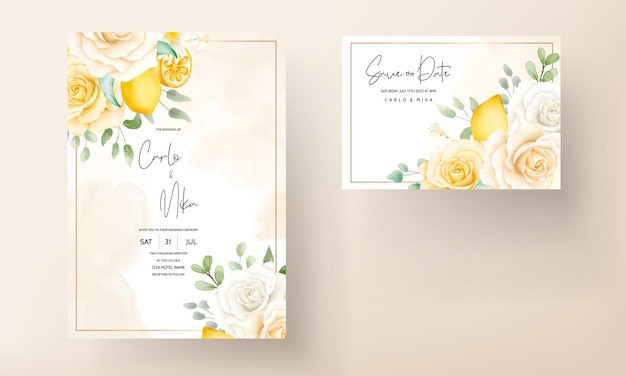 Acuarela de verano floral con invitación de boda de fruta de limón botánico
