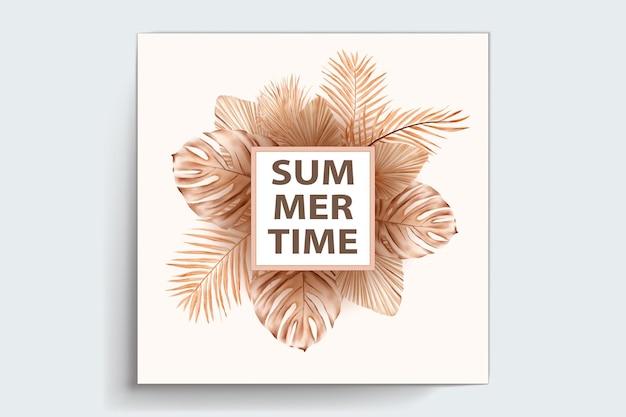 Acuarela de verano floral y tarjeta de hojas