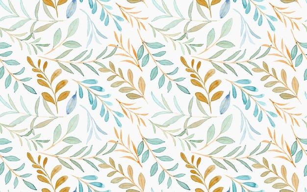 Acuarela verde hojas de patrones sin fisuras