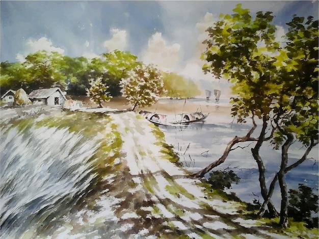 Acuarela village road con pintura de río