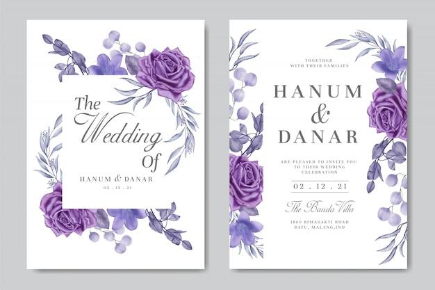 Acuarela violeta floral para plantilla de tarjeta de invitación de boda