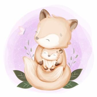 Acuarela zorro madre y bebé