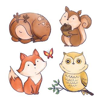 Acuarelas animales del bosque otoñal