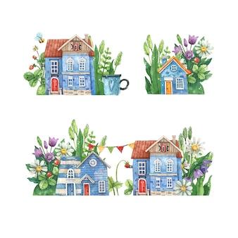 Acuarelas calles dibujadas a mano con casas rurales, flores de verano y hierbas aisladas sobre fondo blanco. encantadoras calles coloridas