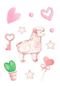 Acuarelas dibujadas a mano ilustraciones de llama rosa, cactus de amor, llave de amor rosa, corazones de color rosa y estrellas.