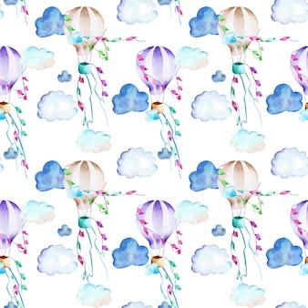 Acuarelas festivas globos aerostáticos en el cielo de patrones sin fisuras