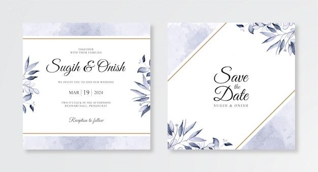 Acuarelas florales pintadas a mano y salpicaduras para hermosas plantillas de invitación de boda