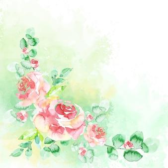 Acuarelas flores en colores pastel