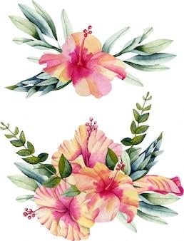 Acuarelas de flores de hibisco y ramos de hojas.