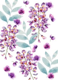 Acuarelas flores lilas y patrón de hojas verdes