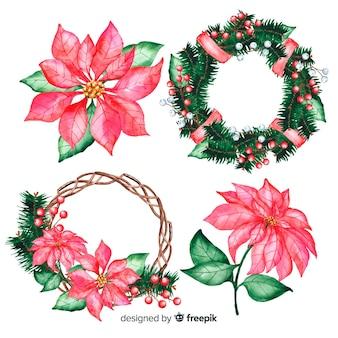 Acuarelas flores de navidad en corona