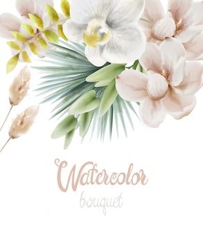 Acuarelas flores de orquídeas blancas y hojas de palma