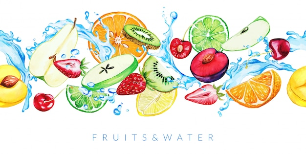 Acuarelas frutas del jardín y salpicaduras de agua