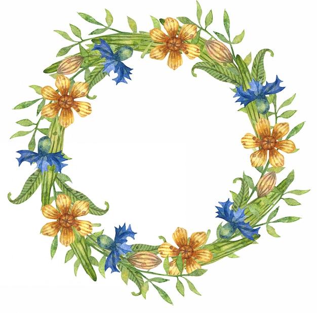 Acuarelas de hojas de primavera, ramas y flores. corona de flores.