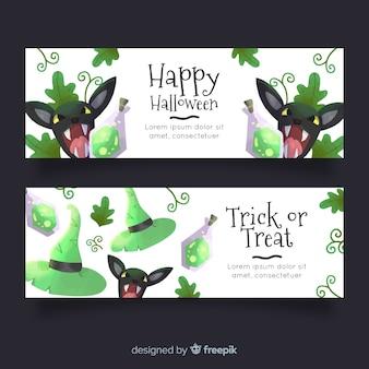 Acuarelas pancartas de halloween con gatos enojados