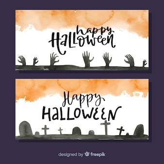 Acuarelas pancartas de halloween con manos de zombie