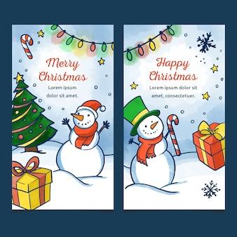 Acuarelas pancartas de navidad con muñeco de nieve