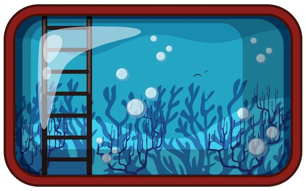 Acuario bajo el agua con coral y escalera