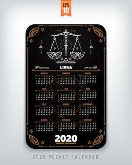 Acuario año zodiaco calendario tamaño de bolsillo diseño vertical ilustración de concepto de estilo de color negro